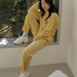 LOV.G 벨벳 트랙 팬츠 soft yellow