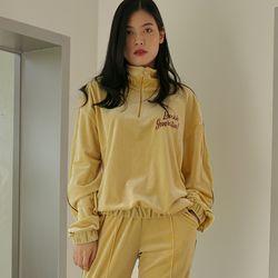 LOV.G 벨벳 트레이닝 집업 탑 soft yellow