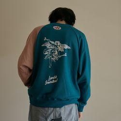 LOV.G 프린트 스웨트셔츠 blue
