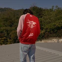 LOV.G 프린트 스웨트셔츠 red