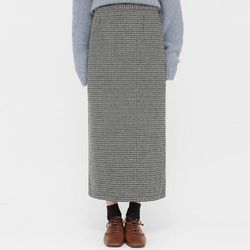 warm check long skirts (s m)