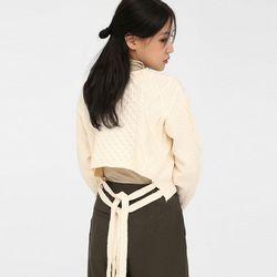 waffle double string v-neck knit