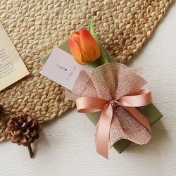 아임리얼오렌지 튤립꽃다발 + 막대과자선물set