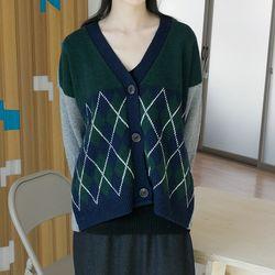 argyle check v-neck cardigan (3colors)