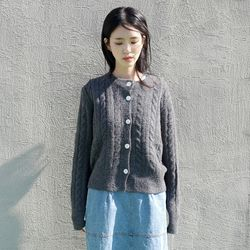 shell button wool cardigan (3colors)