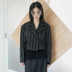 stripe wool short jacket
