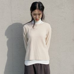 practical round knit top (4colors)