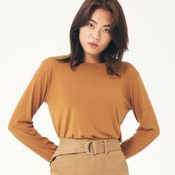 (WOMEN) 데일리 컬러 라운드 긴팔티셔츠 카멜