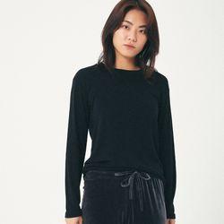 (WOMEN) 데일리 컬러 라운드 긴팔티셔츠 블랙