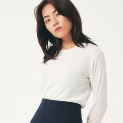 (WOMEN) 베이직 슬렌더 기모 긴팔티셔츠 아이보리