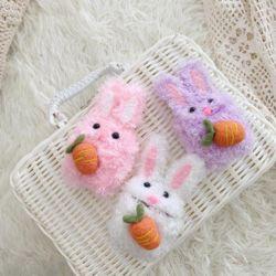 귀여운 당근 토끼 인형 털 퍼 뜨개질 에어팟 케이스