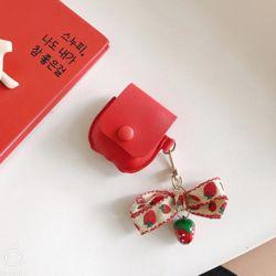 에어팟 가죽케이스 리본 딸기 키링 고리세트 317 레드