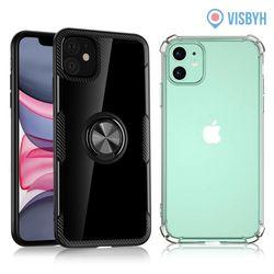 비스비 아이폰11 스마트링 스탠드 범퍼케이스 블랙 2개