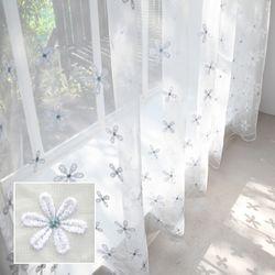 차르르 커텐 자수 레이스 꽃자수 블루