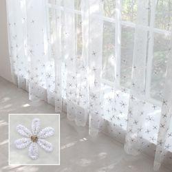 꽃무늬 커튼 자수 속커튼 꽃자수 골드