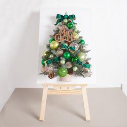 벨벳리프볼 캔버스 트리 70cmP(이젤) 크리스마스