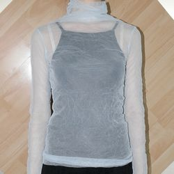 wrinkled see-through top (5colors)