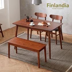 핀란디아 데니스 월넛 4인식탁세트(의자2+벤치1)