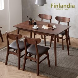 핀란디아 데니스 월넛 4인식탁세트(의자4)