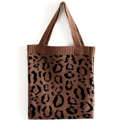 leopard knit bag
