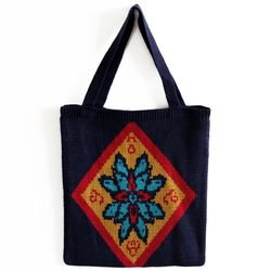 ethnic navy knit bag