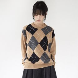 argyle check knit top (2colors)