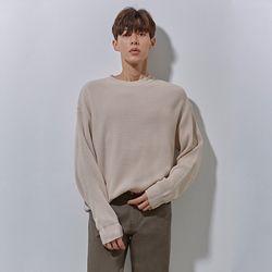 LON soft round knit light beige