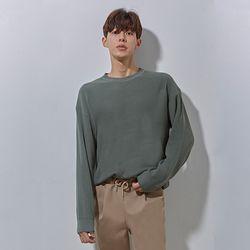 LON soft round knit oil green