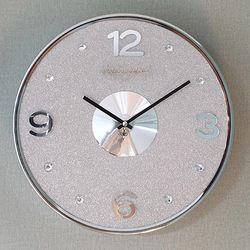국산 글리터 무소음 벽시계 실버그레이 CH1506894