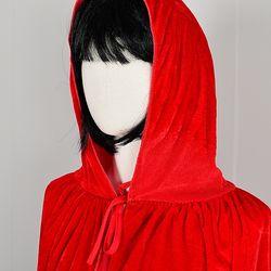 할로윈 의상 벨벳후드 망토 여성용 레드