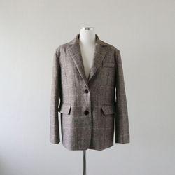 헤링본 체크 울 자켓 코트