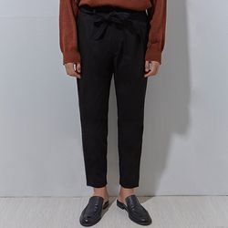 belt set up wolk cotton pants black