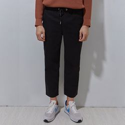 cotton semi wide pants black