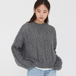 ange alpaca cable crop knit