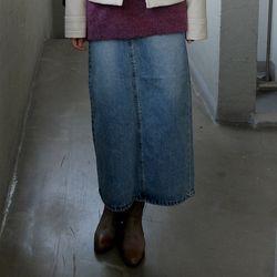 diploidy point denim long skirts
