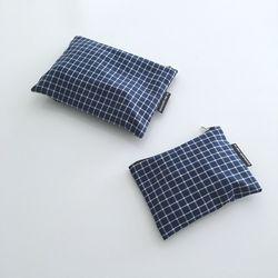 네이비 체크 파우치(Navy check pouch)-M