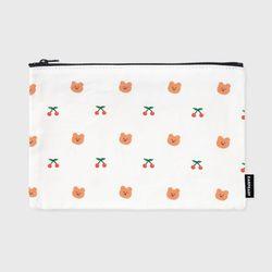 dot cherry bear-white(파우치)(L)