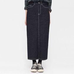 a back slit denim skirt (s m)