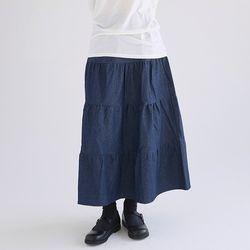 cancan denim crease skirts (2colors)