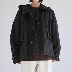 hoodie short safari jumper (black)