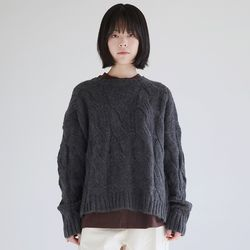 twist angora knit top (charcoal)