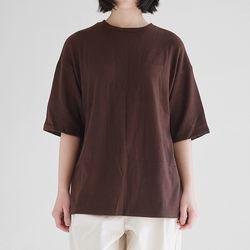 wool texture loose tee (brown)