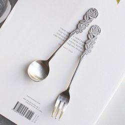 장미 화채스푼케익포크 (2type)