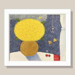 부귀의 꽃그림 그림액자 유화그림 풍수액자(흰색)12호
