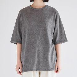 wool texture loose tee (charcoal)