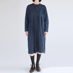 partial pleats denim dress (denim)