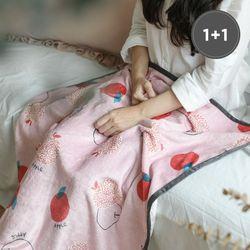 [1+1] 극세사 담요 피치애플 75x100cm 2장