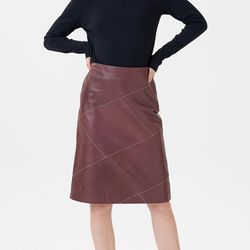 LINE CUTTING LEATHER SKIRTS WINE