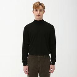 슬리브 하프 폴라 니트 티셔츠 블랙