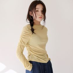 shirring loose neck tee (3colors)